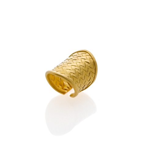 18K yellow gold braided fingerring, mat finish