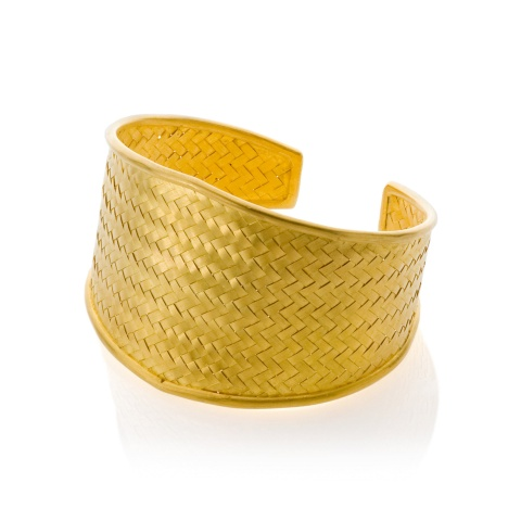 18K yellow gold braided cuff