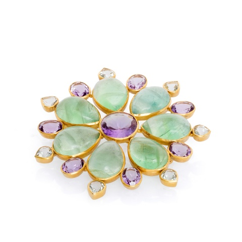 18K yellow gold brooch