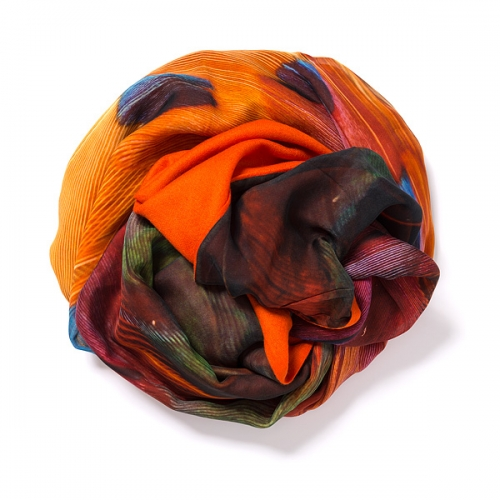 orange pshmina <p>with digital printed silk chiffon (pheasant) attached on one side of the scarf<br /></p>