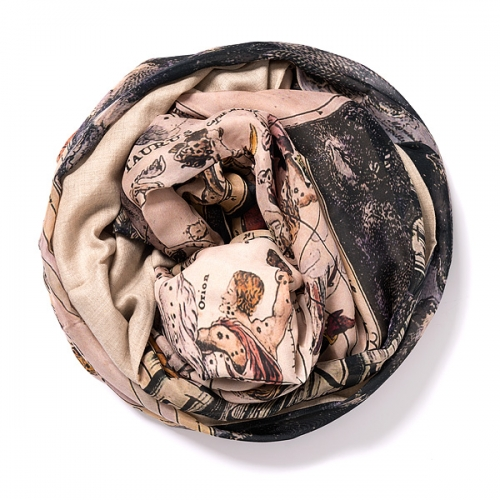 Dark natural Pashmina <p>with digital printed silk chiffon (zodiac) attached on one side of the scarf<br /></p>