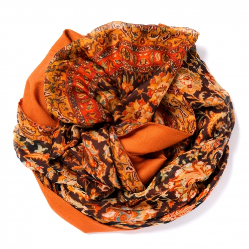 Orange Pashmina  <p>with digital printed silk chiffon (old carpet) attached on one side of the scarf, size: 1x2m<br /></p>
