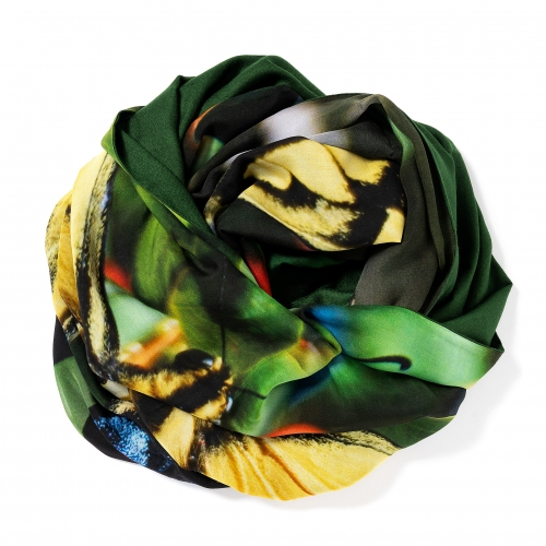 Dark green Pashmina  <p>with printed silk chiffon (butterfly) attached on one side of the scarf, size: 1x2m<br /></p>