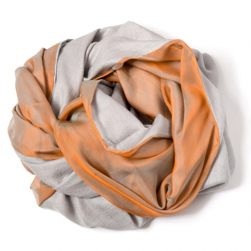 Pearl grey Pashmina  with orange-grey changeant silk chiffon attached on one side of the scarf