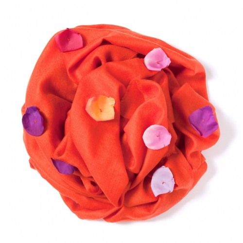Orange Pashmina with orange, mauve, fuchsia and pink rose leafs