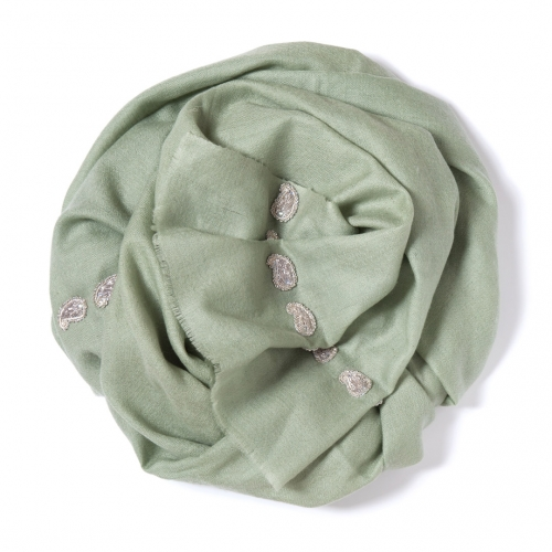 Lime green Pashmina  with silver Paisley decoration along the width
