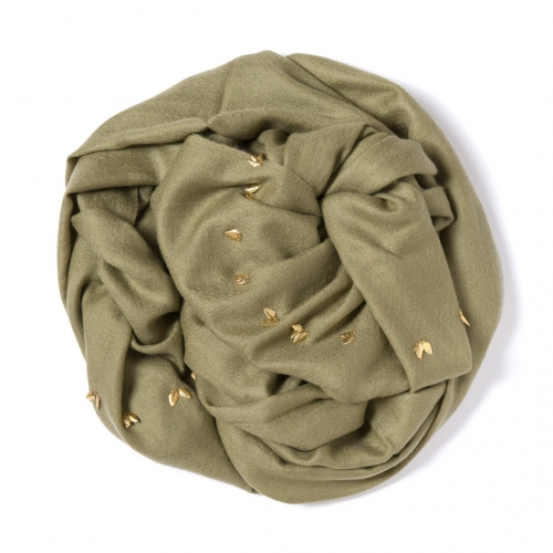 Olive green Pashmina  with golden leaf border attached on the width