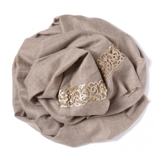 Natural colored Pashmina  with a golden sequence-lace-border on the width