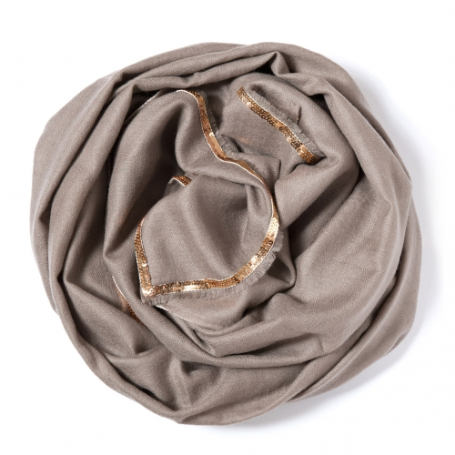 Taupe colored Pashmina  with a golden sequence border