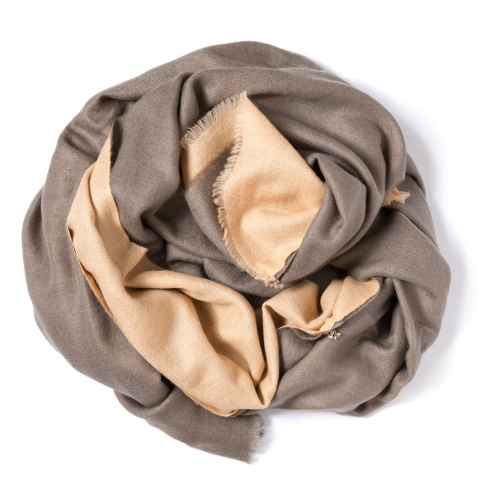 Taupe colored and vanilla colored Pashmina