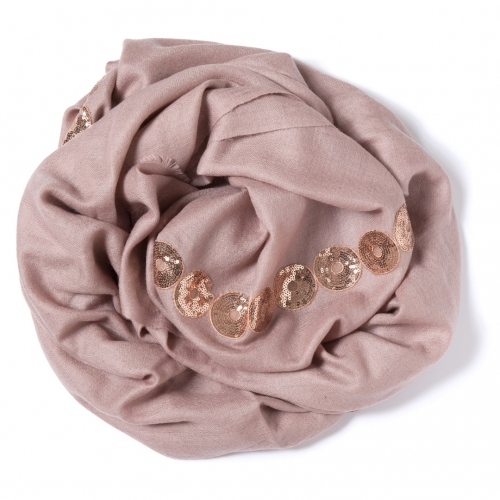 Nude colored Pashmina  with a nude colored sequence border on the width