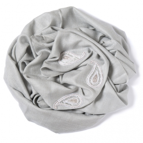 Pearl grey Pashmina  with silver grey Paisley decoration along the width