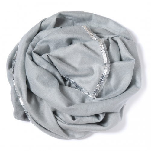 Pearl grey Pashmina  with a silver sequence border