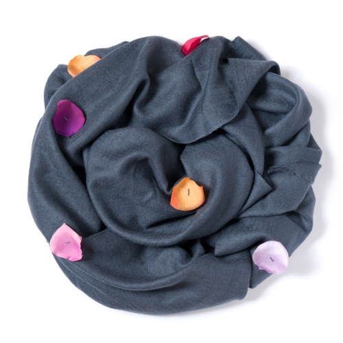 Charcoal Pashmina  with orange, mauve, fuchsia and pink rose leafs