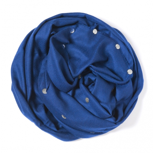 Royal blue colored Pashmina  with silver belly dance coins attached along the border