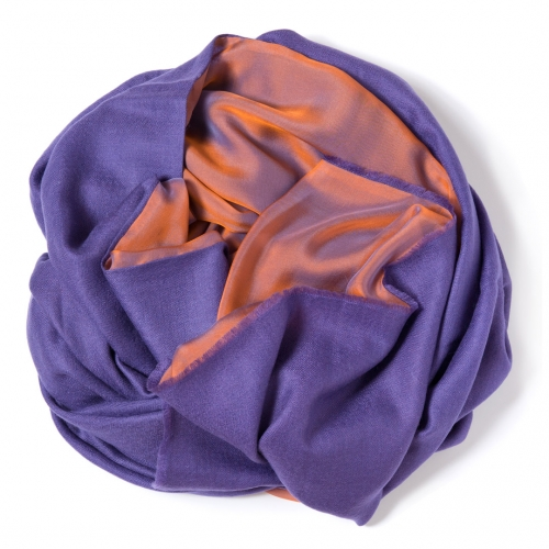Purple Pashmina  with purple-orange changeant silk chiffon attached one one side of the scarf