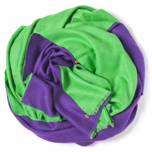 Dark purple and bright green Pashmina sawn together  with golden bells