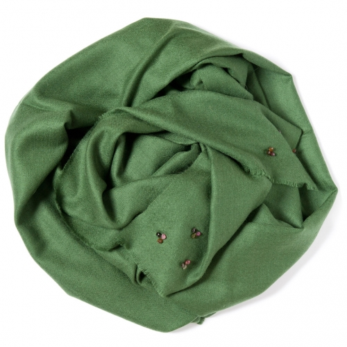 Dark green Pashmina  with tourmalines attached in the corners