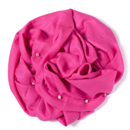 Pink Pashmina  with silver Swarovski-stone balls attached along the width