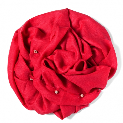 Red Pashmina  with silver Swarovski-stone balls attached along the width