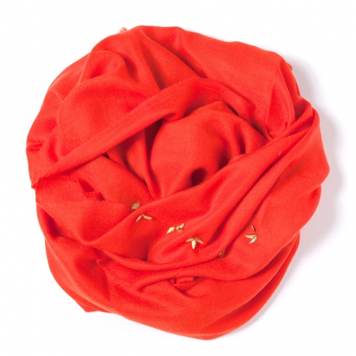 Tomato red Pashmina  with golden leaf border attached on the width