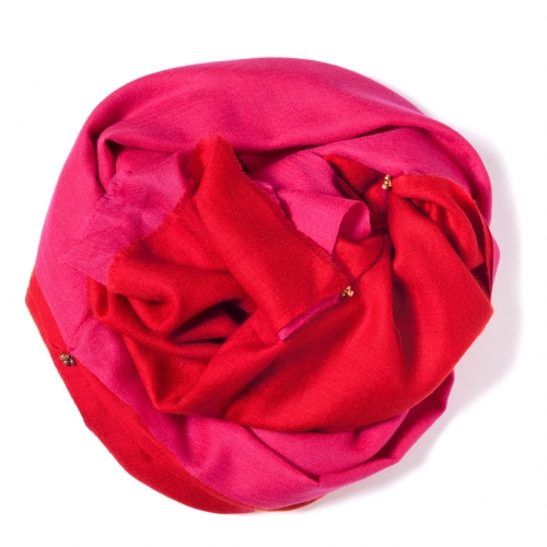 Red and pink Pashmina sawn together  with golden bells