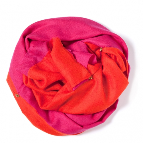Orange and pink Pashmina <p>sawn together with golden bells</p>
