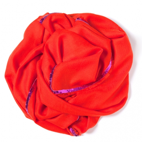 Orange Pashmina  with a hot pink sequence border