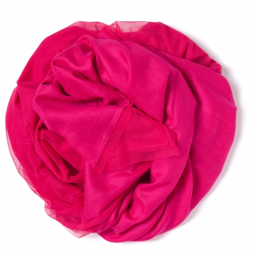 Fuchsia colored Pashmina  with fuchsia colored tulle attached on one side of the scarf