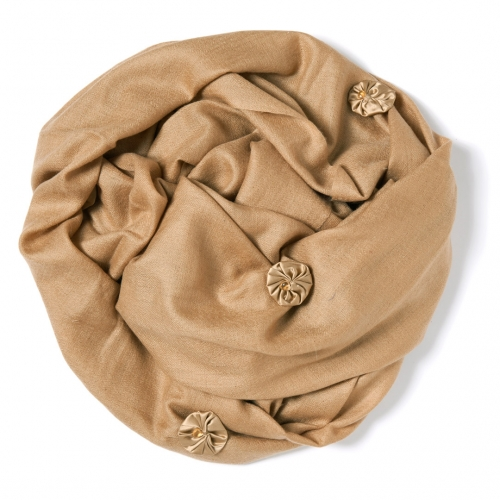 Mocca colored Pashmina  with mocca colored silk satin bundles and citrines