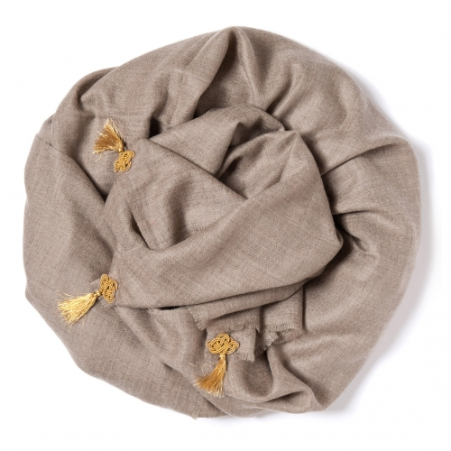 Natural colored Pashmina  with a golden tassels along the width