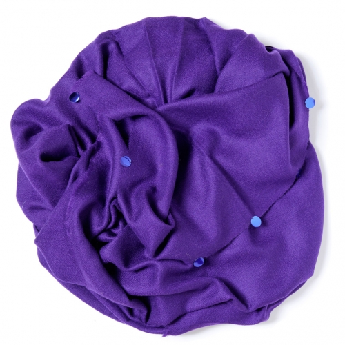 Purple colored Pashmina  with royal blue sequences attached on the border