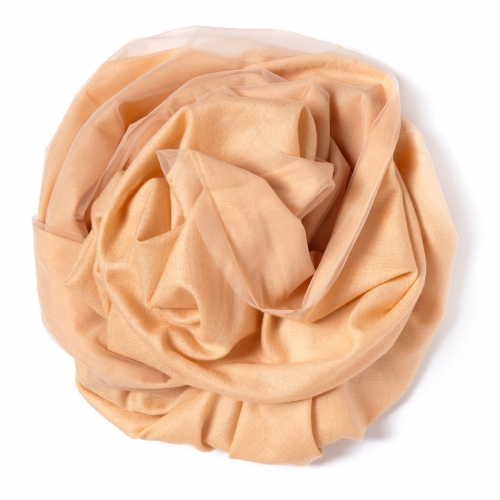 Beige Pashmina  with beige tulle attached on one side of the scarf