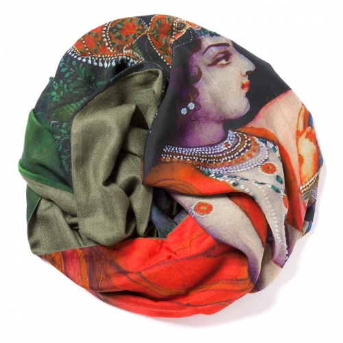 Olive green Pashmina  <p>with digital printed Krishna and Radha scene on silk chiffon attached on one side of the scarf</p>