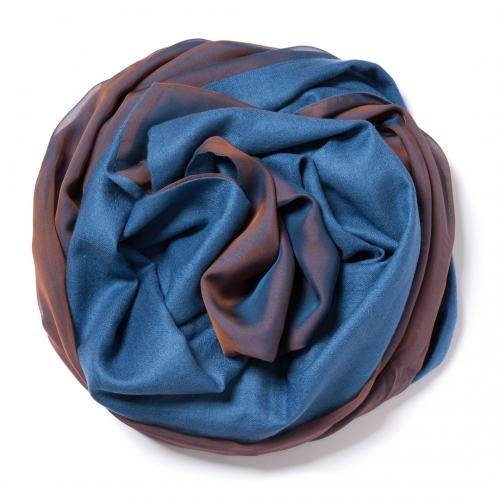 Indigo blue Pashmina  with copper-indigo changeant silk chiffon attached on one side of the scarf
