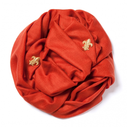 Carmine red Pashmina  with golden fleur de lys embroidered in each corner