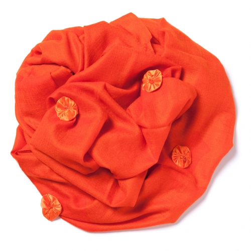 Bright orange Pashmina  with bright orange satin bundles
