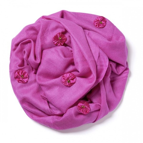 Hot pink Pashmina  with hot pink satin bundles and peridots