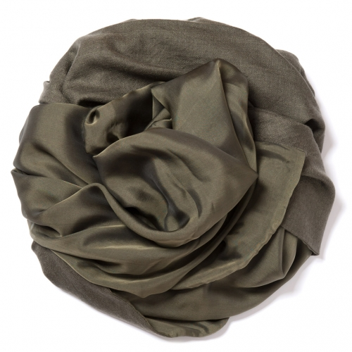 Olive green Pashmina  with olive green-black changeant silk chiffon attached on one side of the scarf