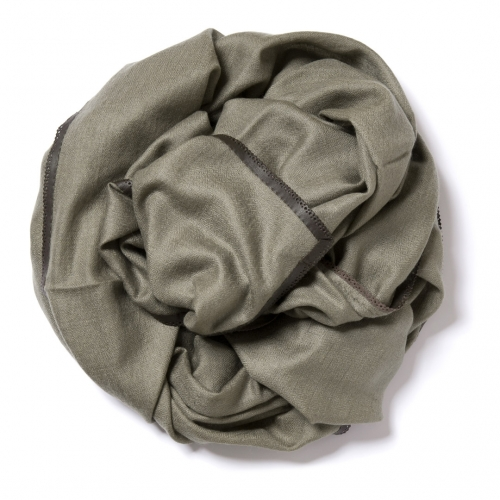 Olive green Pashmina  with dark brown leather border
