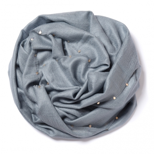 Silver grey Pashmina  with little silver stars on the edges