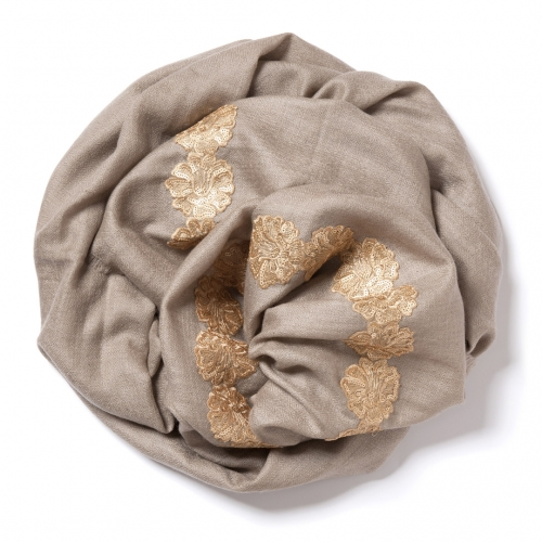 Sand colored Pashmina  with golden floral lace border on the widths