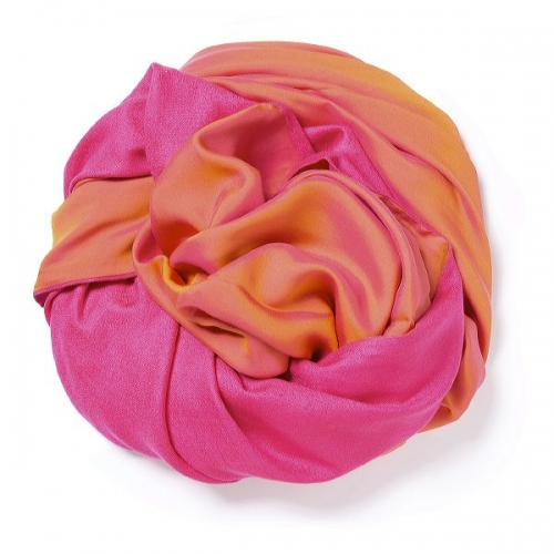 Pink Pashmina  with pink-gold changeant silk satin attached on one side of the scarf