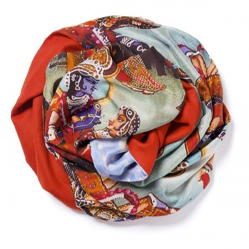 Tomato red Pashmina  with digital printed silk chiffon attached on one side of the scarf