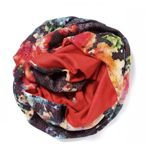 Red Pashmina  with floral digital printed silk chiffon attached on one side of the scarf