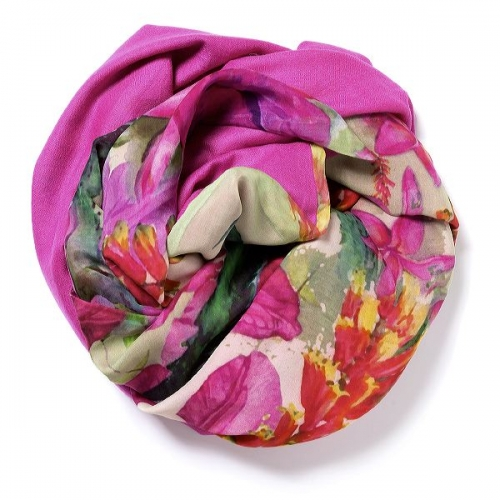 Pink Pashmina  with floral digital printed silk chiffon attached on one side of the scarf