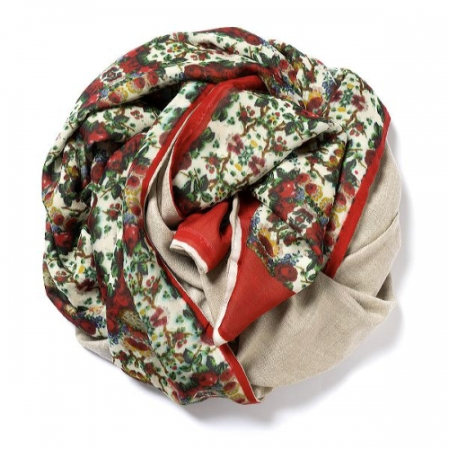 Natural beige Pashmina  with floral digital printed silk chiffon attached on one side of the scarf