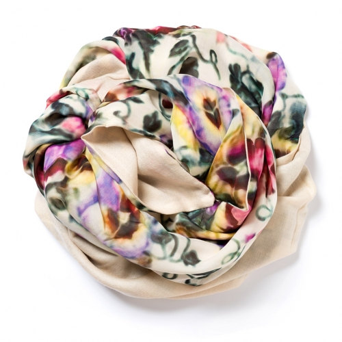 White natural Pashmina  with floral digital printed silk chiffon attached on one side of the scarf