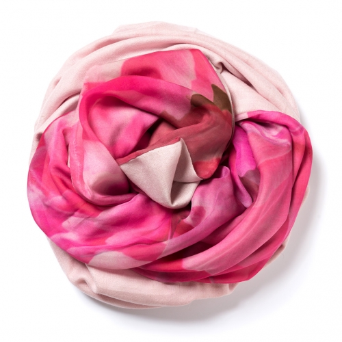 Baby pink Pashmina  with floral digital printed silk chiffon attached on one side of the scarf
