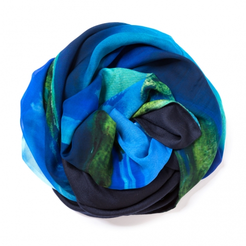 Dark navy blue Pashmina  with digital printed silk chiffon attached on one side of the scarf